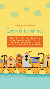 flyer re picking up money ($20) and local eatery information for Thursday lunch from Registration Desk